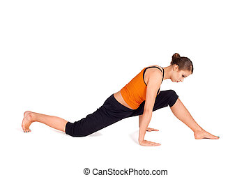 Fit Attractive Woman Practicing Yoga Pose - Woman doing...