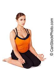 Woman doing Prenatal Yoga Exercise - Woman doing thighs...