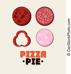 Salami ingredient of Pizza pie design - Salami ingredient...