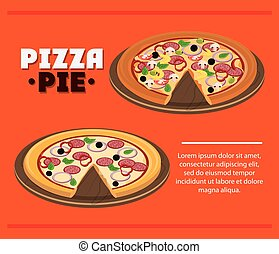 Pizza pie with plate and fast food design - Pizza pie and...