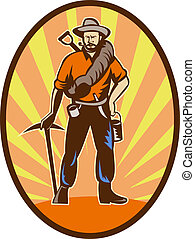 Miner, prospector or gold digger with pick axe and shovel...