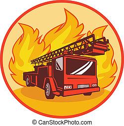 Fire truck or engine with flames in background set inside a...