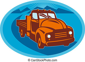 Vintage pick-up cargo farm truck done in retro style -...