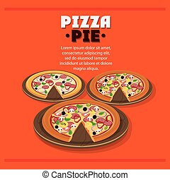 Pizza pie plate and fast food design - Pizza pie and plate...