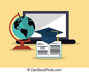 education and earth globe with academia related icons image...