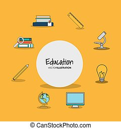 education and academia related icons emblem - flat design...
