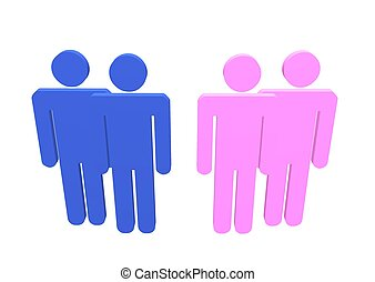 Gay Lesbian - Illustration a gay and lesbian couple or...