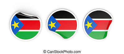 Flag of south sudan, round labels - Flag of south sudan,...