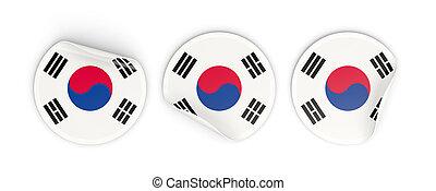 Flag of korea south, round labels - Flag of korea south,...