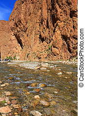 Todra gorge - Steep canyon walls in colorful Todra Gorge in...
