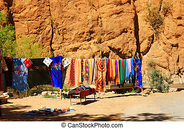 Todra gorge in Morocco - Steep canyon walls in colorful...