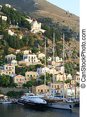 Greece Aegean sea Island Symi Simi Mandraki harbor in the...
