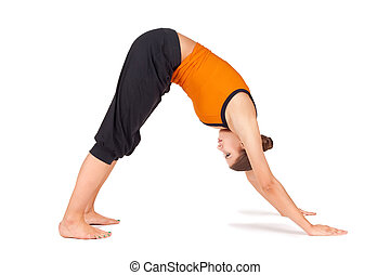 Fit Young Woman Practicing Yoga Asana - Woman doing yoga...