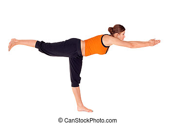 Woman Practicing Warrior Pose 3 Yoga Exercise - Woman...