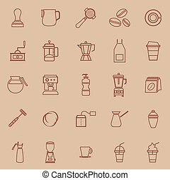 Barista line color icon on brown background, stock vector