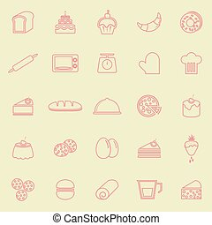 Bakery line color icons on yellow background
