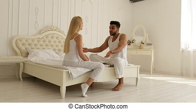 couple relationships problem fight conflict sitting on bed argue unhappy woman hit man negative emotion