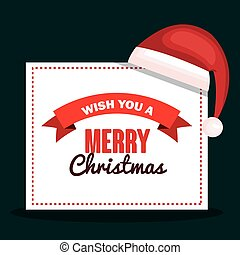 merry christmas card with hat red design