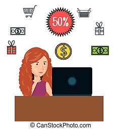 cartoon woman e-commerce laptop desk isolated design, vector...