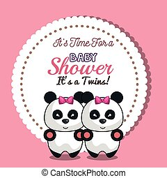 invitation twins girl panda baby shower card design vector...