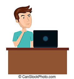 cartoon man laptop desk e-commerce isolated design, vector...
