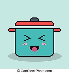 cartoon pot cooking with facial expression isolated icon design