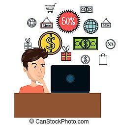 cartoon man e-commerce laptop desk isolated design, vector...