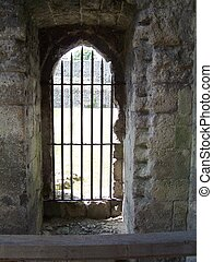 Castle doorway - Photo of a castle doorway with iron bars