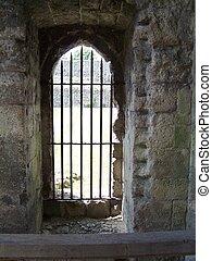 Castle doorway - Photo of a castle doorway with iron bars