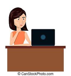 cartoon woman laptop desk e-commerce isolated design, vector...