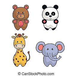 set animals cartoon cute design