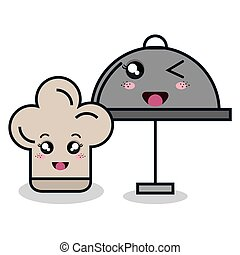 catering food service and hat chef cartoon isolated icon...
