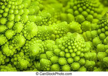 Romanesco broccoli Brassica oleracea close-up background