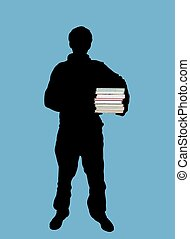 student - Illustration of man holding books
