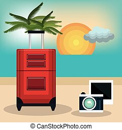 travel suitcase vacation design vector illustration eps 10