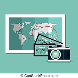 camera photography ticket travel vacation design