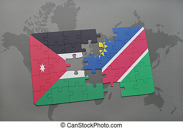 puzzle with the national flag of jordan and namibia on a...