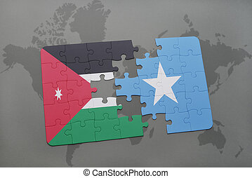 puzzle with the national flag of jordan and somalia on a...