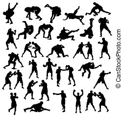 Wrestling and Boxing Silhouettes - Activities silhouette...