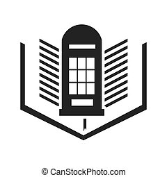 london telephone cabin with education icon vector...