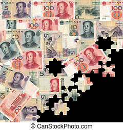 Yuan montage jigsaw background illustration