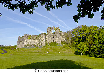 Oystermouth Castle, near Swansea, Wales. The surrounding...