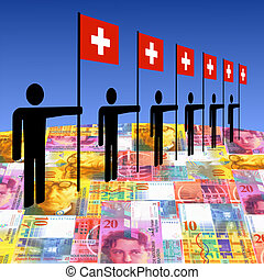 men with Swiss flags - line of men holding Swiss flags on...