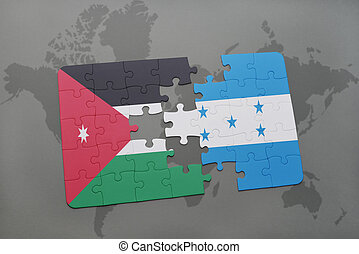puzzle with the national flag of jordan and honduras on a...