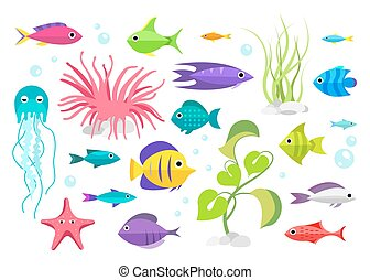 Cartoon fish collection set - Fish collection Cartoon style...