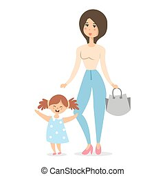Mom with baby . Mother love vector illustration