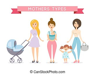 Moms with babys . Mother love vector illustration