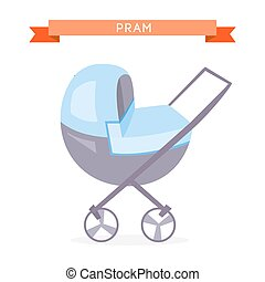 Blue baby carriage - Blue Baby carriage isolated on a white...