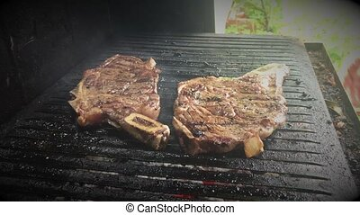 Huge slices of steaks on the grill - BBQ grill stakes...