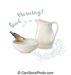 Pitcher Bowl Bird - Vector Good Morning concept design....